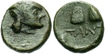 Ancient Coins - Thrace, Pantikapaion, 135-125 B.C. Æ 12 mm. VF.