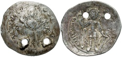 Ancient Coins - Michael VII Ducas. 1071-1078. AR miliaresion. Constantinople. VF, pierced for suspension. Very rare.