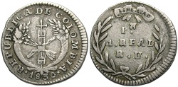 World Coins - Colombia. 1830-PN RU. 1 real. VF, toned.