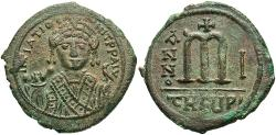 Ancient Coins - Maurice Tiberius. 582-602. Æ follis. Antioch, regnal year 1 (582/3). Good VF, green patina.