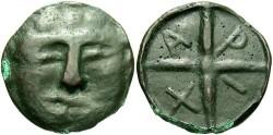 Ancient Coins - Thrace, Olbia. Ca. late 5th-4th centuries B.C. Æ 25 mm. Good VF, dark brown patina.
