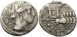 Ancient Coins - L. Rubrius Dossenus. 87 B.C. AR denarius. Toned VF.