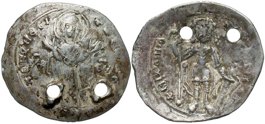 Ancient Coins - Michael VII Ducas. 1071-1078. AR miliaresion. Constantinople. VF, pierced for suspension. Very rare.