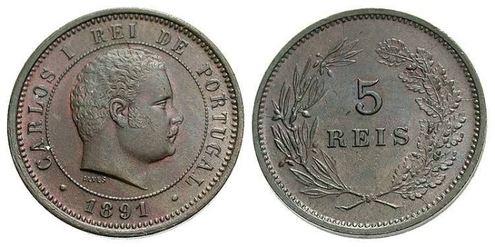 World Coins - Portugal. 1891. 5 Reis. Unc.