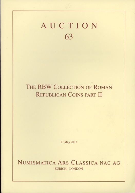 Numismatica Ars Classica Nac Auction 63 The Rbw Collection Of