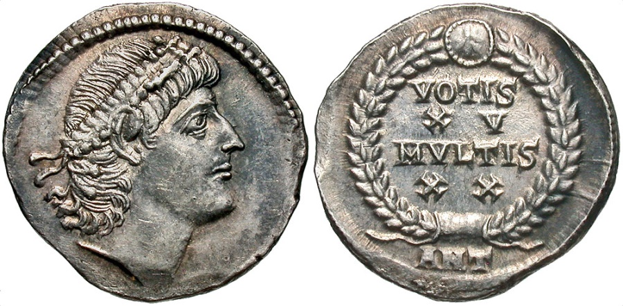 Ancient Coins - Constantius II. A.D. 337-361. AR siliqua. Antioch, A.D. 342/3. Choice EF, light toning. Extremely rare vicennalian issue.