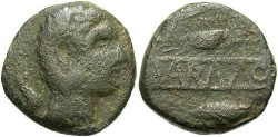 Ancient Coins - Spain, Carmo. Ca. 80 B.C. Æ 22 mm. Fine, brown and green surfaces.