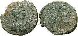 Ancient Coins - Theodosius II. A.D. 402-450. Æ maiorina. Constantinople, A.D. 437(?). VF, green patina. Very rare.
