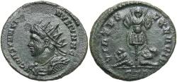 Ancient Coins - Constantine II. As Caesar, A.D. 317-337. Æ follis. Treveri, A.D. 320. EF, dark green patina.