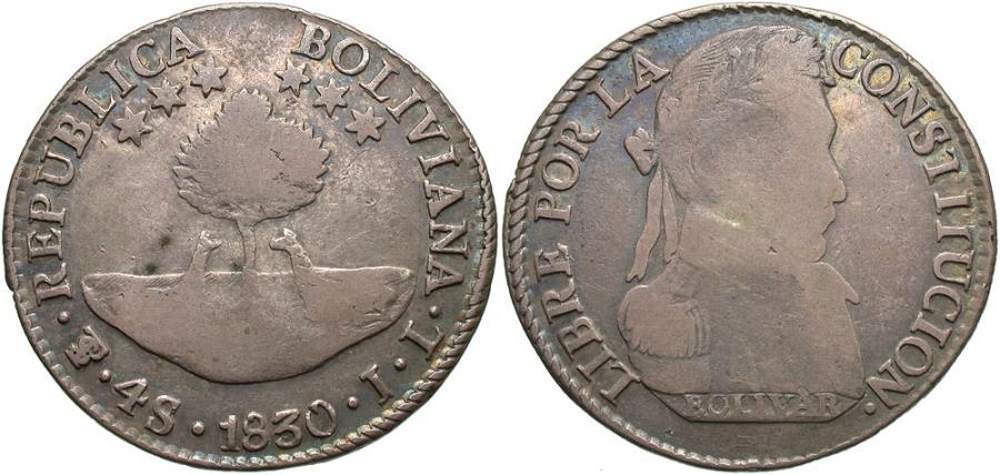 World Coins - Bolivia. 1830-PTS JL. 4 soles. Fine, nice toning.