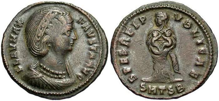 Ancient Coins - Fausta. Augusta, A.D. 324-326. Æ follis. Thessalonica, A.D. 326-328. VF, brown patina. Rare and interesting type.
