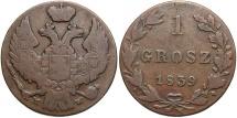 World Coins - Poland, under Russia. 1839-MW. 1 Grosz. Fine.