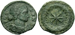 Ancient Coins - Helena, mother of Constantine I. Æ reduced follis. Thessalonica, ca. A.D. 318-19. VF.