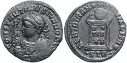 Ancient Coins - Constantine II. As Caesar, A.D. 317-337. Æ follis. Treveri, A.D. 322/3. Near EF, dark brown patina.