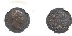 World Coins - FRANCE Napoleon I (1769-1821). Silver ½ Franc, AN 13-A. Lovely deep tone.NGC graded AU-50
