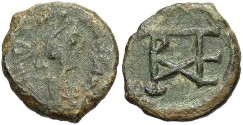 Ancient Coins - Justinian I. 527-565. Æ pentanummium. Cherson. VF, green patina. Strong monogram.
