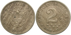 World Coins - Panama. 1916. 2 1/2 centesimos. AU, scarce 1-year type.