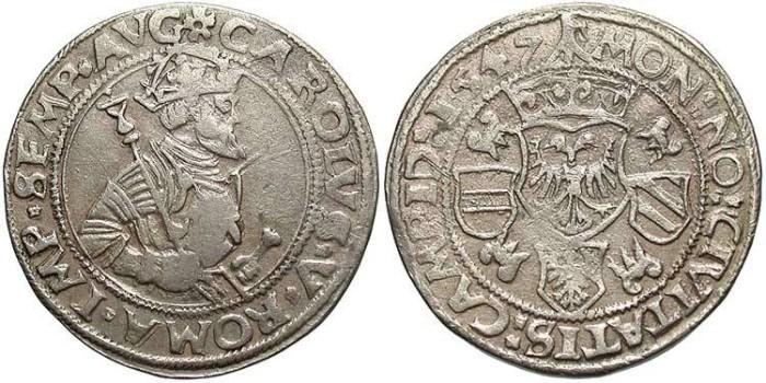 World Coins - Germany, Kempten. Charles V. 1547. AR 1/4 Taler. VF.