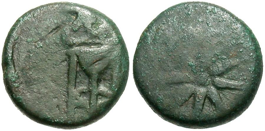 Ancient Coins - Cimmerian Bosporos, Pantikapaion. Ca. 109-105 B.C. Æ. Fine, green patina.