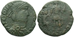 Ancient Coins - Imitation copying coins of Gratian to Theodosius I. Ca. late 4th century A.D. Æ 20 mm. Fine, green patina.