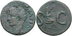 Ancient Coins - Divus Augustus. Died A.D. 14. Æ as. Rome, under Tiberius, ca. A.D. 15/6. Good Fine, brown patina.