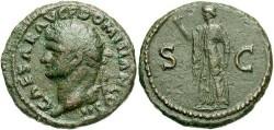 Ancient Coins - Domitian. A.D. 81-96. Æ as. Rome, as Caesar, A.D. 72. Nice VF, brown patina.