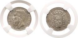 World Coins - Belgium. Leopold II (1835-1909) 50 Cents 1886. Flemish . AU 58