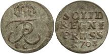 World Coins - German States, Prussia. Friedrich I. 1703-CC. 1 Pfennig. VF.