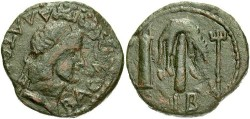 Ancient Coins - Bosporan Kingdom. Mithridates. A.D. 39-42. Æ 23 mm. VF, dark brown patina.