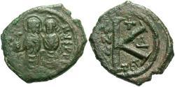 Ancient Coins - Justin II. 565-578. Æ 1/2 follis. Thessalonica, regnal year 4 (569/70). VF, green patina.