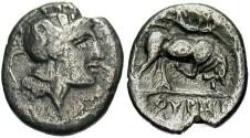 Ancient Coins - Lucania, Thourioi. 281-268 B.C. AR diobol. VF.