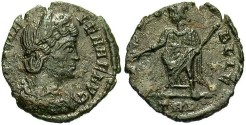 Ancient Coins - Helena, mother of Constantine I. Æ reduced follis. Trier, ca. A.D. 337-340. VF.
