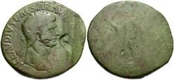 Ancient Coins - Claudius. A.D. 41-54. Æ sestertius. Contemporary imitation. Fine/Fair, green patina.