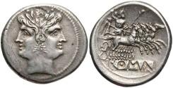 Ancient Coins - Anonymous. Ca. 225-212 B.C. AR didrachm. Rome. Good VF, toned.