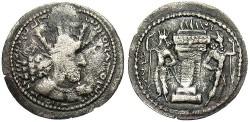 Ancient Coins - Sasanian Kingdom. Shapur I. A.D. 241-272. AR obol. VF, darkly toned.