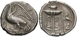 Ancient Coins - Bruttium, Kroton. Ca. 350-300 B.C. AR nomos. Toned VF.