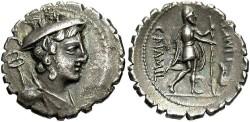 Ancient Coins - C. Mamilius Limetanus. 82 B.C.. AR denarius. Good VF, nice old collection toning.