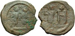 Ancient Coins - Justin II. A.D. 565-578. Æ 8 pentanummia or follis. Cherson. Fine, brown patina.