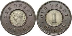 World Coins - Great Britain. ND (1844). 1 penny model. By Joseph Moore. EF.