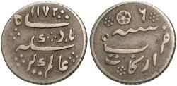 World Coins - India, Madras Presidency. AH 1172/6 (Frozen date). 1/16 Rupee. VF, toned.