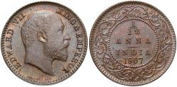 World Coins - India, British. 1907. 1/12 Anna. BU.