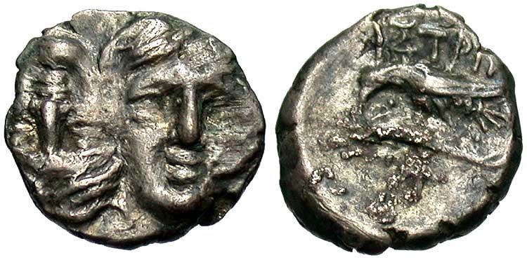 Ancient Coins - Thrace, Istros, Ca. 4th century B.C. AR quarter drachm. Fine.