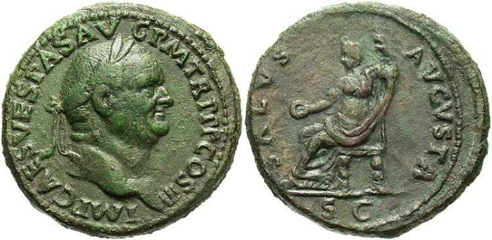 Ancient Coins - Vespasian. A.D. 69-79. Æ sestertius. Rome, A.D. 71. VF, green patina.