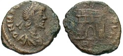Ancient Coins - Magnus Maximus. A.D. 383-388. Æ 12 mm. Uncertain mint. Fine, brown patina.
