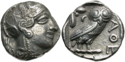 Ancient Coins - Attica, Athens. Ca. 454-404 B.C. AR tetradrachm. Good VF.