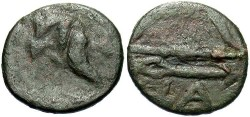 Ancient Coins - Thrace, Pantikapaion, 225-215 B.C. Æ 12 mm. Near VF.