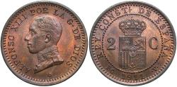World Coins - Spain. Alfonso XIII. 1911. 2 Centimos. Unc., red/brown.