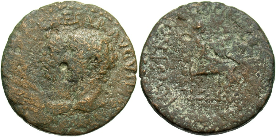 Ancient Coins - Bithynia, Uncertain mint. Augustus, with Livia. 27 B.C.-A.D. 14 Æ. ca. July or August A.D. 14. M. Granius Marcellus, proconsul. Fine, green patina.
