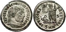 Ancient Coins - Constantine I. A.D. 307-337. Æ reduced follis. Nicomedia, ca. A.D. 311. EF, silvered.