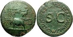 Ancient Coins - Augustus. 27 B.C.-A.D. 14. Æ sestertius. Rome, posthumously under Tiberius. VF, green patina, rough.